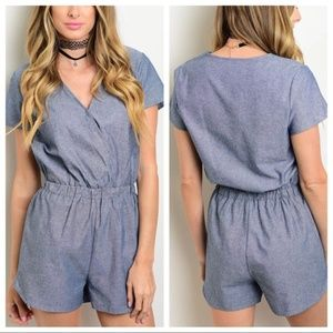 CUTE Chambray Romper Blue Snap closure front sz S
